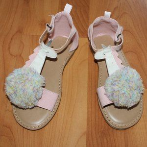 Old Navy Sandals Faux Suede Sz 11 POM Pom Unicorn